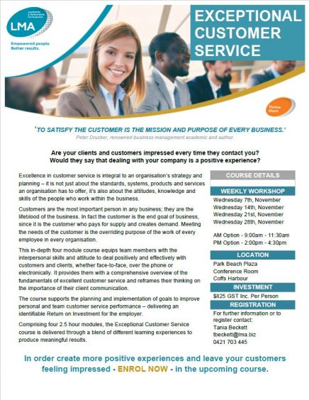 Exceptional Customer Service - Coffs Chamber